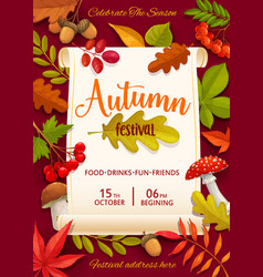 Autumn festival flyer with colorful tree leaves vector