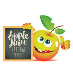 banner for fresh juice with funny apple vector image