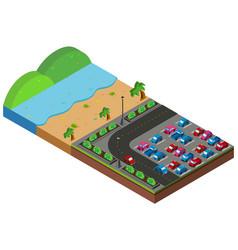 beach scene with carpark in 3d design vector image