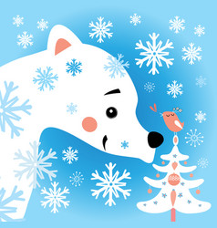 bear in snow forest vector image