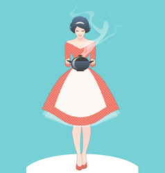 beautiful housewife dressed in style the vector image
