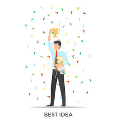 Best idea triumph on white vector