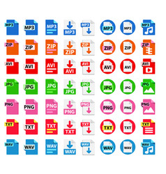 big collection icons file format vector image