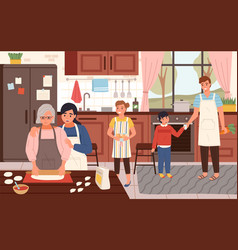 big happy family cooking time parents children vector image