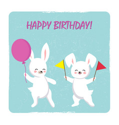 Birthday postcard template with two happy bunnies vector