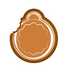 Bitten christmas ball gingerbread vector