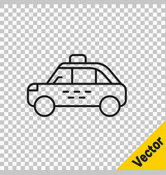 black line taxi car icon isolated on transparent vector image