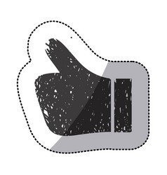 black sticker silhouette of glove showing symbol vector image