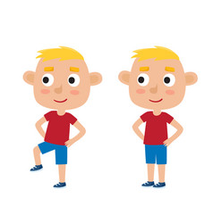 boy in exercise pose vector image