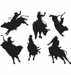 Bull riders vector