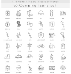 camping ultra modern outline line icons vector image