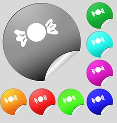 Candy icon sign set of eight multi colored round vector