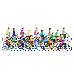 cartoon color cyclists different types in crowd vector image