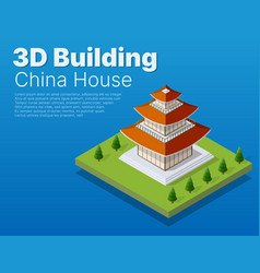 chinese building house buddhist art temple vector image