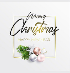 christmas card with golden frame and wreath vector image