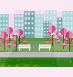 city park view springtime seasons vector image