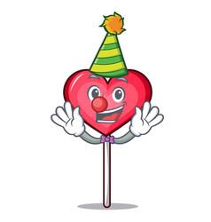 Clown heart lollipop mascot cartoon vector