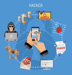 Cyber crime concept with hacker vector