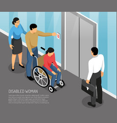 Disabled woman isometric vector