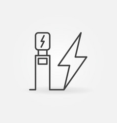 Electric vehicle charging station outline vector