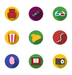Films and cinema set icons in flat style Big vector image