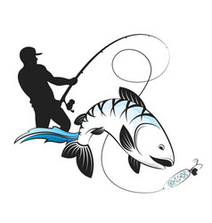 fisherman with a fishing rod and fish vector image