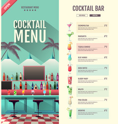 Flat style cocktail retro menu design with bar vector