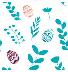 floral branches and colored egg for easter holiday vector image