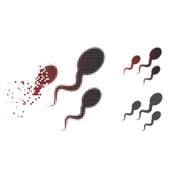 Fragmented pixel halftone sperm icon vector