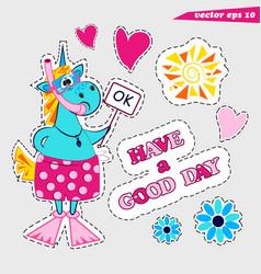 funny cartoon colored unicorn snorkel sticker set vector image