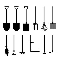 Garden tools silhouettes set vector