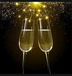Glasses champagne on firework background vector