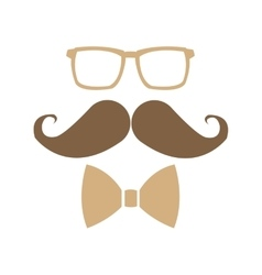 glasses mustache bowtie icon vector image