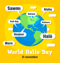Global hello day concept background flat style vector