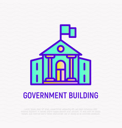 government building with flag thin line icon vector image
