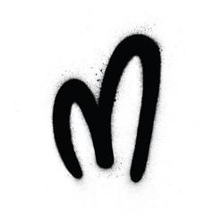 Graffiti round m font sprayed in black over white vector