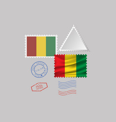 Guinea flag postage stamp set isolated on gray vector
