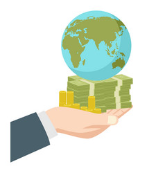 hand holding money and earth globe vector image