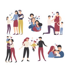 Happy loving family mother father and children vector