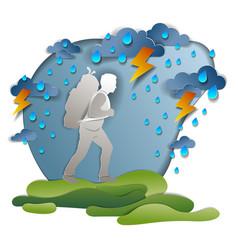 Hiker man walking through thunderstorm and rain vector
