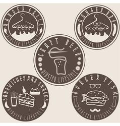 hipster style food labels vintage set vector image