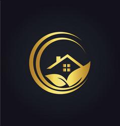 home gold leaf nature logo vector image