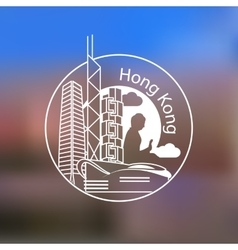 Hong Kong one line design on blurred background vector image