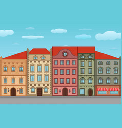 houses old european city street with colored vector image