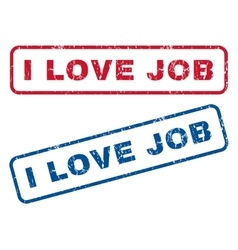 I Love Job Rubber Stamps vector image