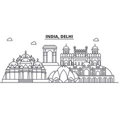 India delhi architecture line skyline vector