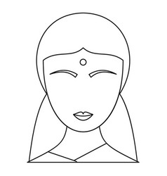 Indian woman icon outline style vector