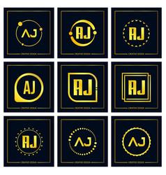 Initial letter aj logo set design vector
