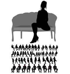 isolated silhouette people sitting collection vector image