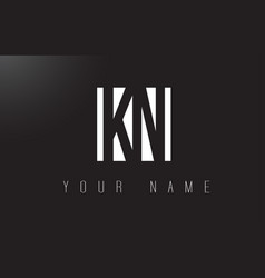 kn letter logo with black and white negative vector image